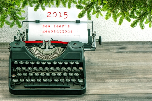 Typewriter With 2015 New Year's Resolutions And Christmas Tree T